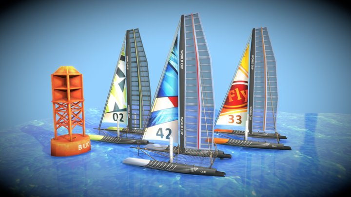 Catamaran & Buoy Pack 3D Model