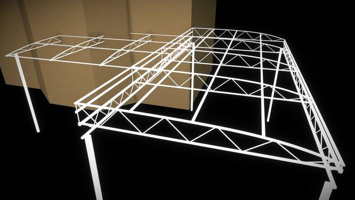 Carport and lean-to metal-frame, version 1 3D Model