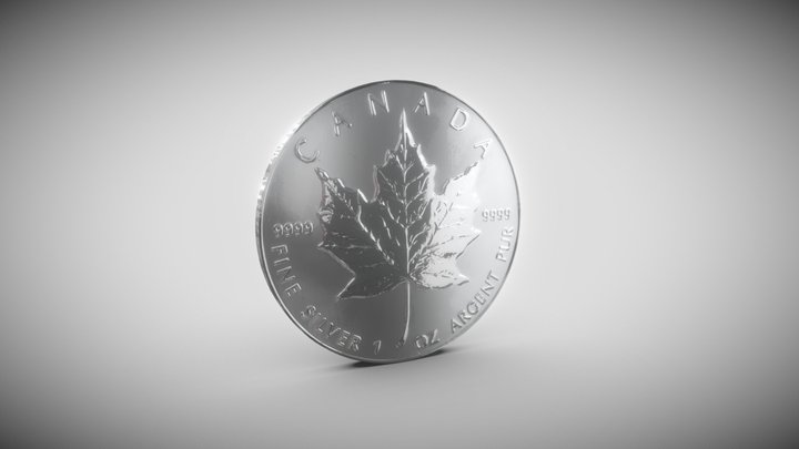 Silver coin maple leaf 3D Model