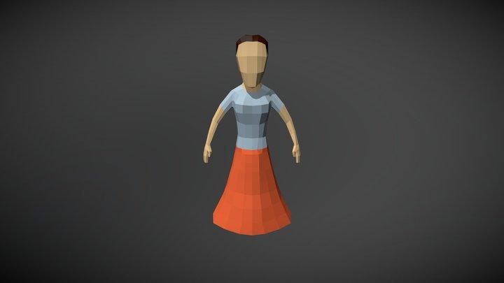 Lowpoly Villager Female 3D Model