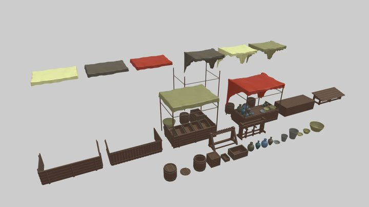 Modular Fantasy Market Stall Assets 3D Model