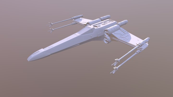 X-Wing Fighter (Star Wars) Closed Wings 3D Model