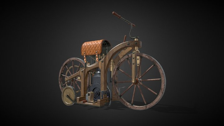 The world's first motorcycle Reitwagen 3D Model