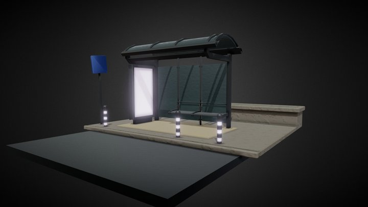 Bus Stop Diorama 3D Model