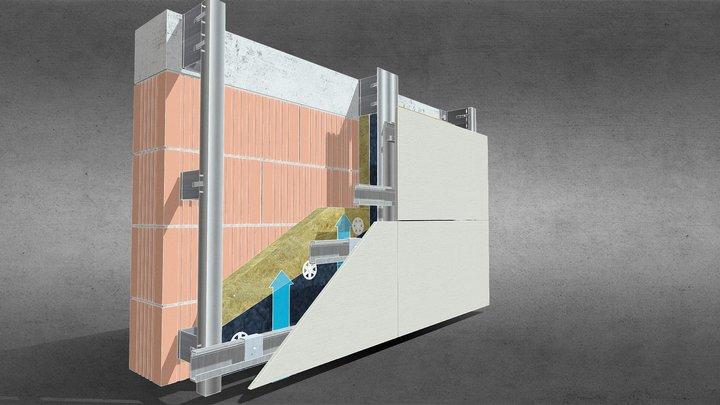 Facciata ventilata fibrocemento a scomparsa 3D Model