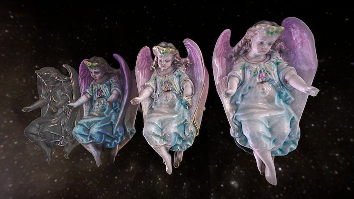 Angel with pink wings in space 3D Model