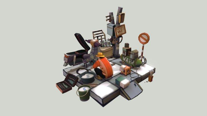 VÁ XE LỀ ĐƯỜNG 3D Model