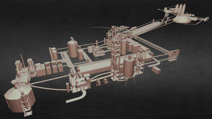 Big Manufacturing Plant 3D Model