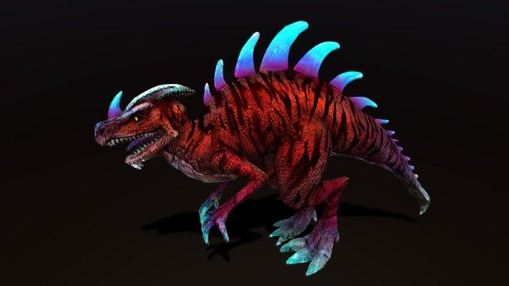 Sci-Fi Circus Creature: Alien Tiger Raptor 3D Model