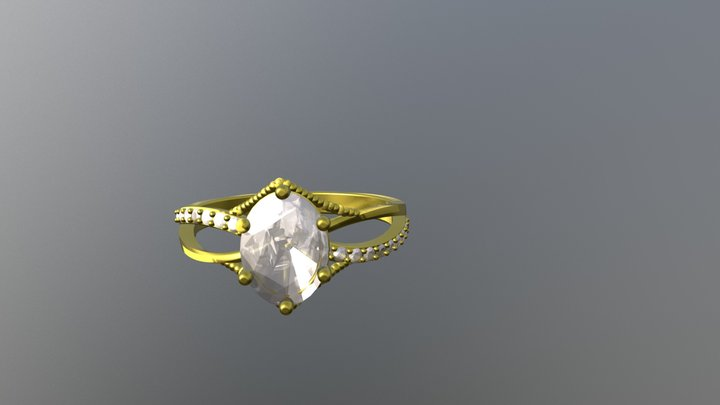 Gold Engagement Ring - 04gg95 3D Model