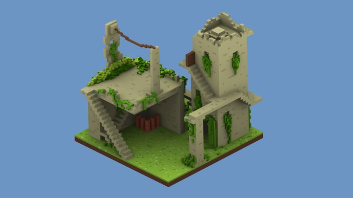 Voxel Island 3D Model