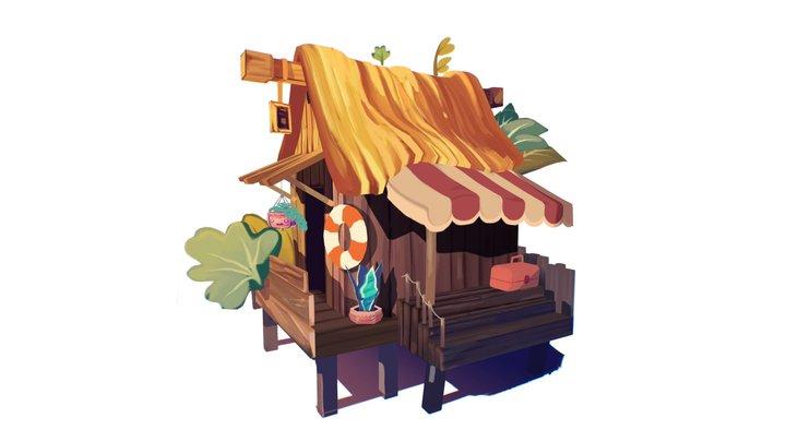 Tropical Hut 3D Model