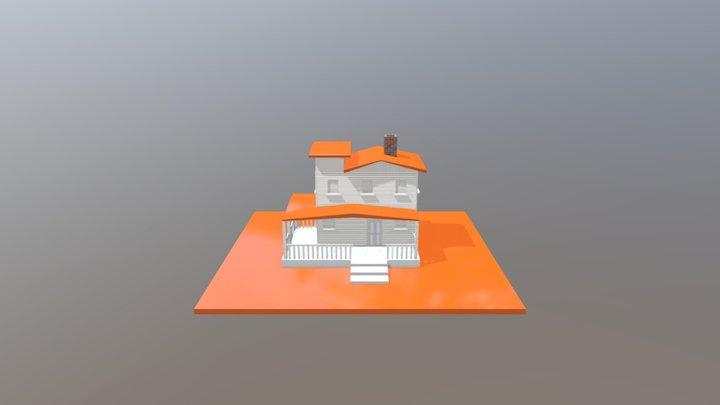 Low-Poly-House-Orange 3D Model
