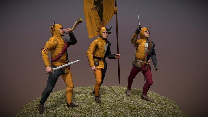 Swiss Hornblower, Flagbearer and Officer (Uri) 3D Model