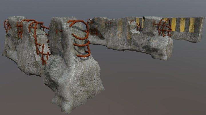 Cement Barricades 3D Model