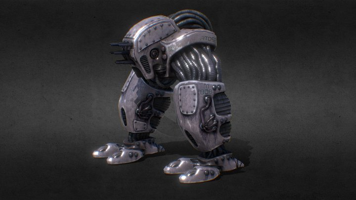 Machinegun-head - model from Dead Cyborg game 3D Model