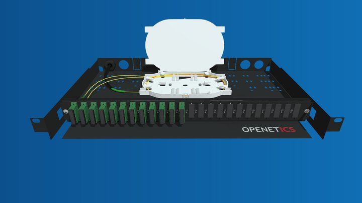 Kit Caja Distribuidora de Fibra Óptica Extraíble 3D Model