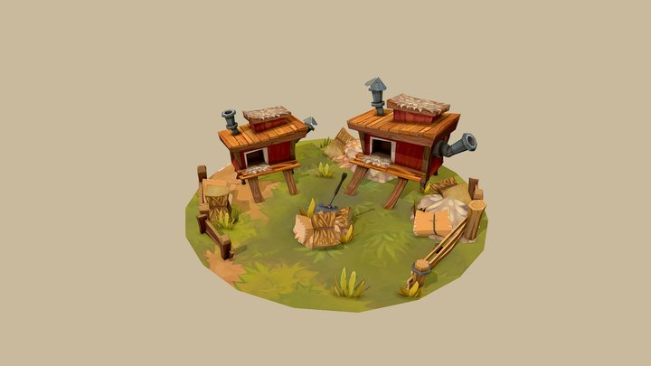 Handpainted Chicken Coop Diorama 3D Model