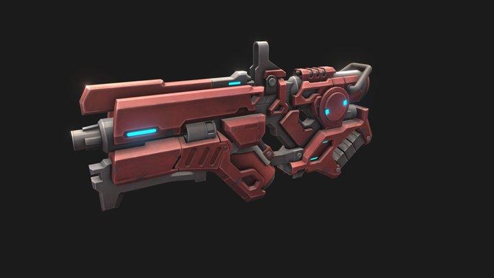 Low Poly Sci-fi Gun 3D Model