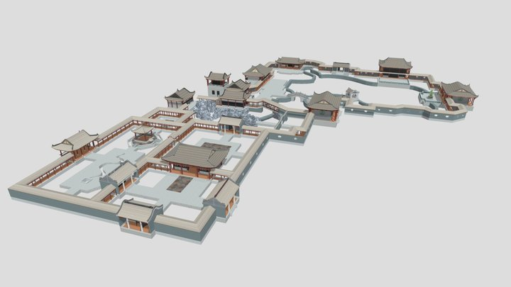 Ancient Chinese courtyard Park 3D Model