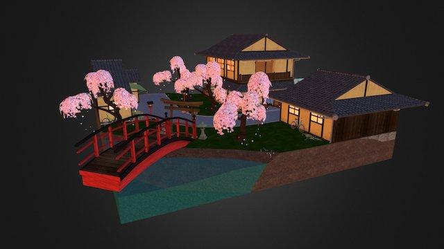 Japanese City Scene - Geisha Kyoto 3D Model