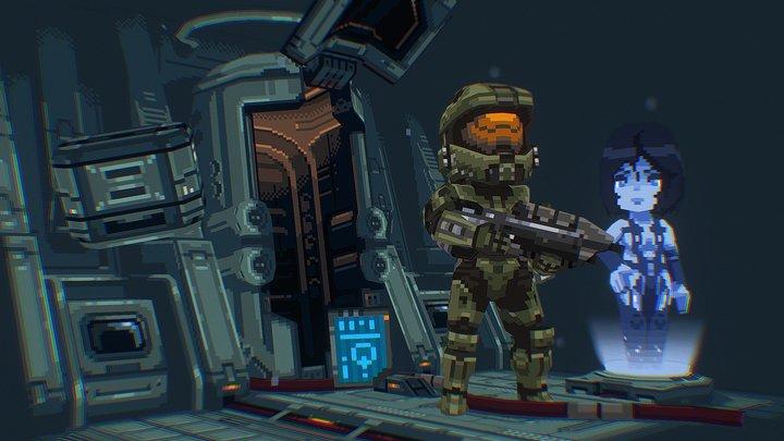 'Dawn' - Halo 4 Lowpoly Pixel Fanart 3D Model