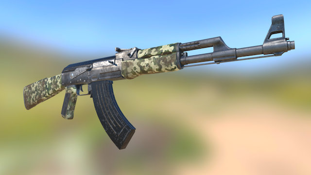 Ak-47 Old and Dirt Low Poly 3D Model
