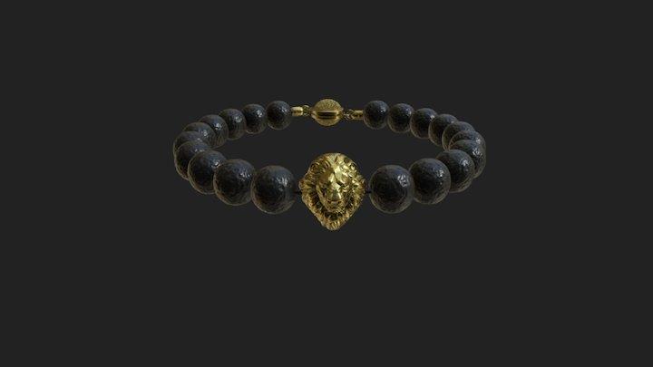 Lion Bracelet with Lava beads 3D Model