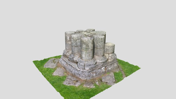 York St Mary's Abbey Ruins Bottom of a Column 3D Model