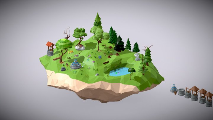 Low Poly Nature and Props Pack 3D Model