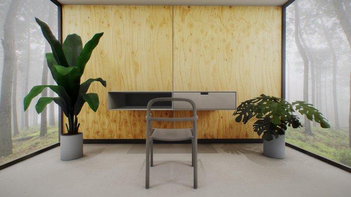 Home Office VR Scene Virtual Desktop + 3ds Max 3D Model