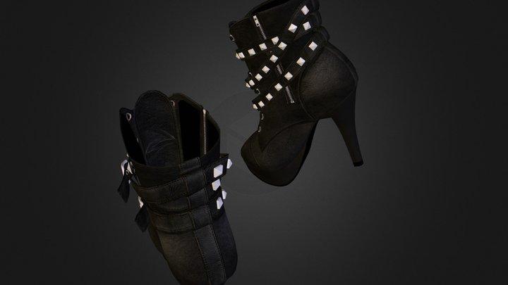 Leather Pretty High Heel Booties Final 4 3D Model