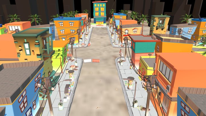 Cartoon Town - Buildings and Environment 3D Model