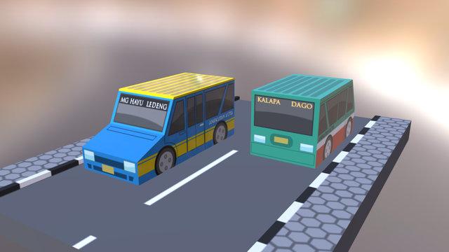 Angkot Lowpoly 3D Model