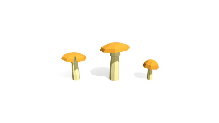 Low Poly Mushrooms Amanita Caesarea 3D Model