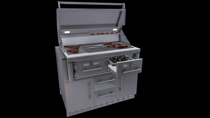 "46"" Charcoal Grill Cabinet Item No.SAC46CGDC 3D Model"
