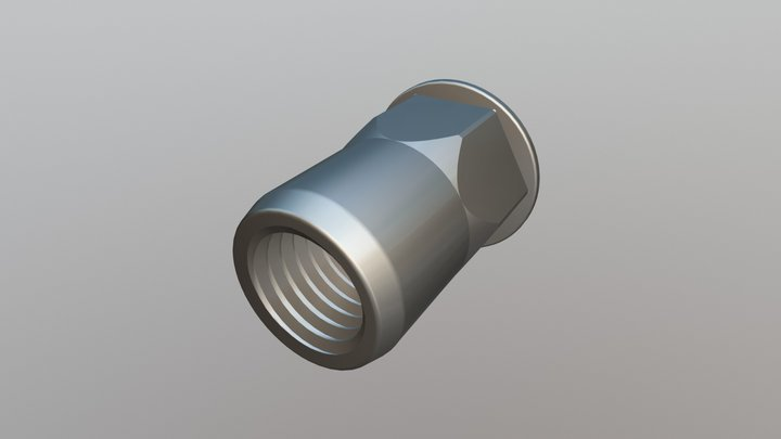 Rivet Nut - Reduced Head, Part Hexagon Open End 3D Model