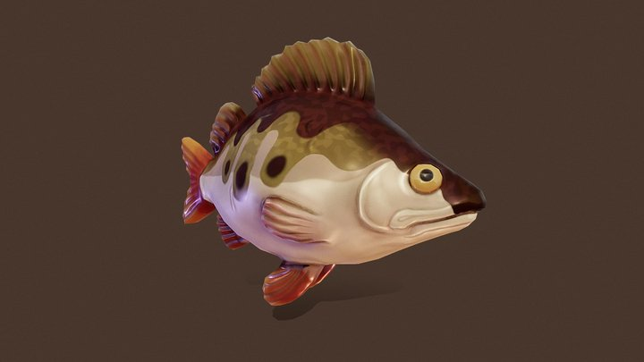 Stylized Perch Fish 3D Model