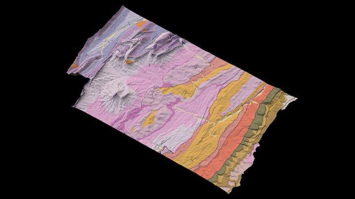 Geologic map of Rockbridge County (center) 3D Model