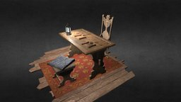 Medieval desk 3D Model