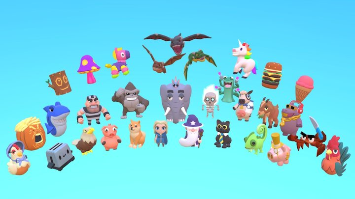Simple Characters Group Shot 3D Model