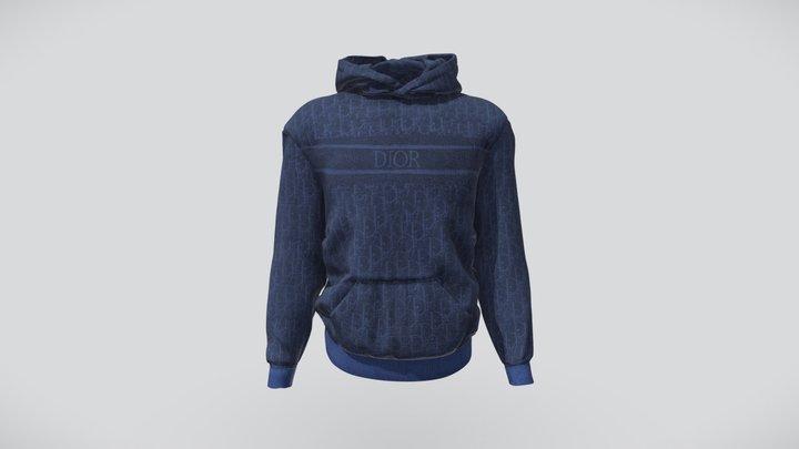 Dior Oblique Hoodie Blue Jacquard Cotton 3D Model