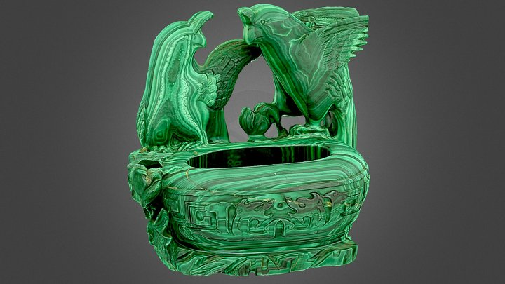 Chinese carved malachite vase. 3D Model
