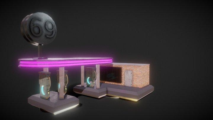 Cyberpunk Petrol Station 3D Model
