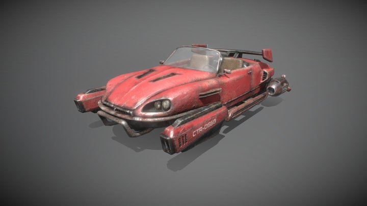 post apocalyptic racing hovercar with guns 3D Model