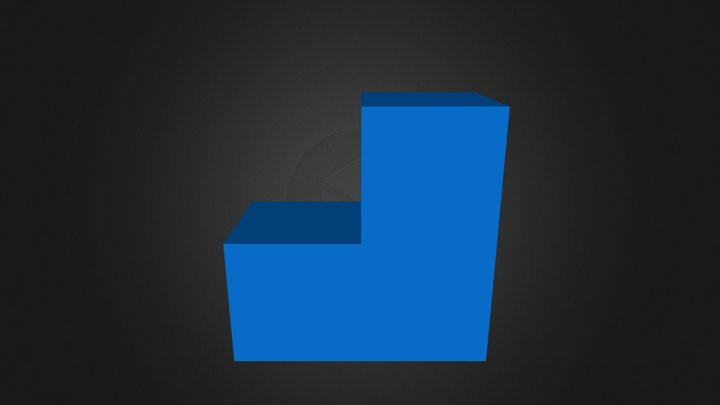 Blue puzzle cube piece 3D Model