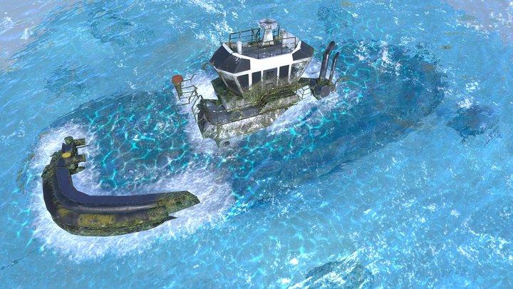 Sunken Tugboat 3D Model