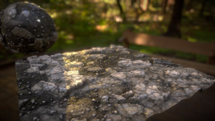 Procedural ground with rocks and pebbles 3D Model