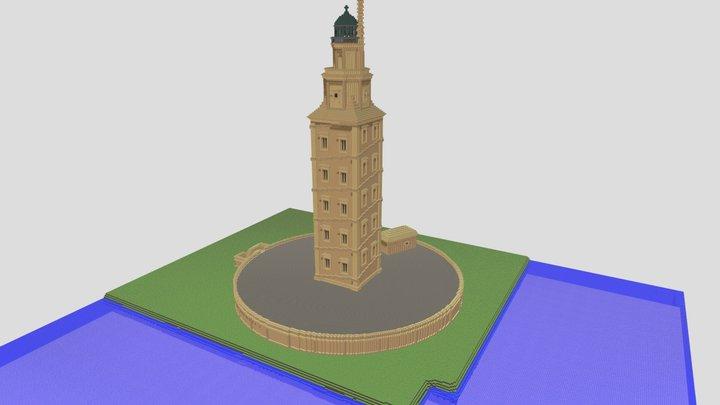 Torre de Hércules en Minecraft. 3D Model