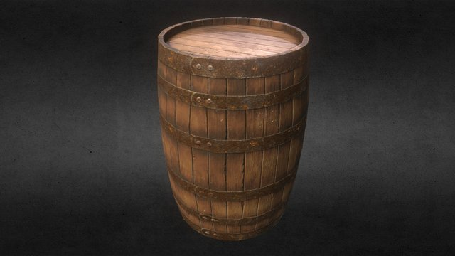 (PBR) Old Wooden Barrel 3D Model